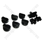 Universal Cooker Oven Grill Control Knobs And Adaptors Black Fits All Gas Electric x 6