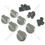 6 X Universal Cooker Oven Grill Control Knobs And Adaptors Silver Fits All Gas Electric
