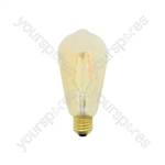 ST64 Filament LED Lamp with Tinted Glass - Amber E27 4W Dimmable - ST64E27D4W-3000K