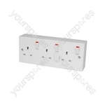 3 Gang Switched Fused Mains Socket - Switched/Fused Outlet, c/w Back box